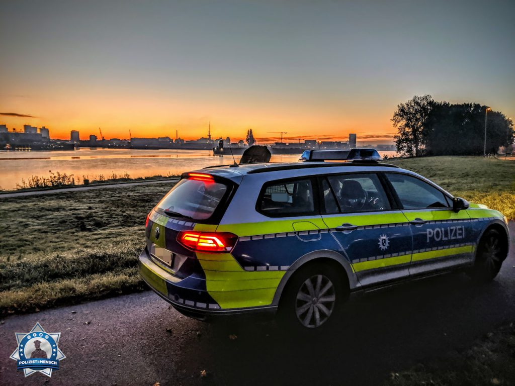 """""""Der morgendliche Blick von Woltmershausen über die Weser bis hin zur Überseestadt. Liebe Grüße von der Polizei aus Bremen, Mariell und Theis"""""""