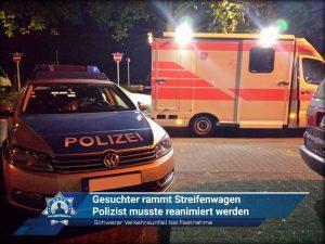 Schwerer Verkehrsunfall bei Festnahme: Gesuchter rammt Streifenwagen - Polizist musste reanimiert werden