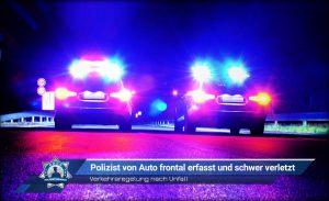 Verkehrsregelung nach Unfall: Polizist von Auto frontal erfasst und schwer verletzt