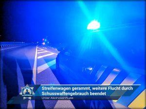 Unter Alkoholeinfluss: Streifenwagen gerammt, weitere Flucht durch Schusswaffengebrauch beendet
