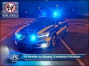 Widerstand an rechtem Szene-Treff: 19 Streifen im Einsatz, 3 verletzte Polizisten