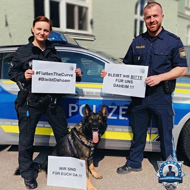 """""""Wir sind für euch da. Bleibts bitte dahoam. Grüße aus Regensburg von Syrus, Diensthund Koi und Hundeführerin Sonja"""""""