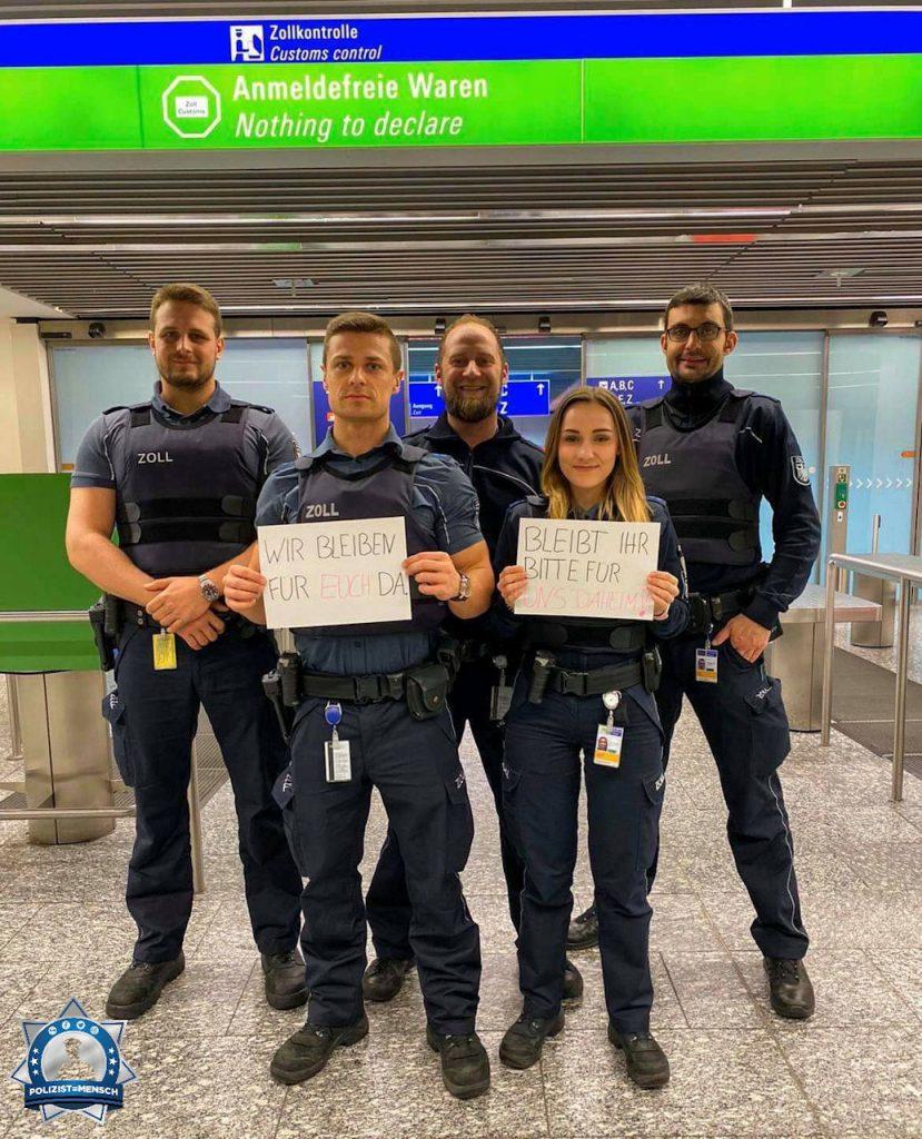 """""""Wir bleiben für Euch da. Bleibt Ihr für uns daheim. Grüße vom Airport Frankfurt Lukas, Marian, Siggi, Dana und Flo"""""""