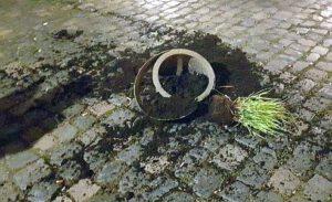 Versuchtes Tötungsdelikt: Unbekannter lässt 20 kg schweren Blumenkübel auf Polizisten herab fallen