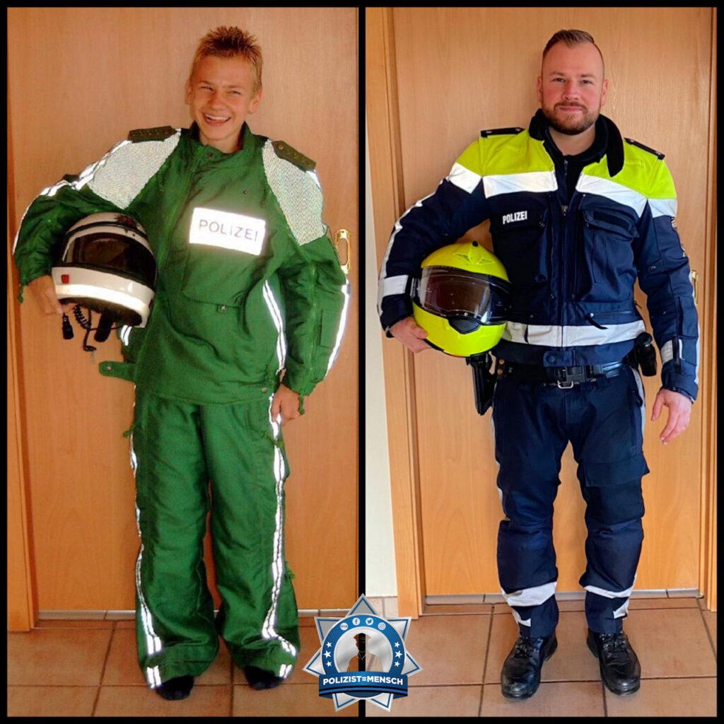 """""""Vor über 15 Jahren war ich stolz, Papas Uniform anziehen zu dürfen. Ich stehe auf den Bildern an gleicher Örtlichkeit, jedoch heute mit meiner eigenen Uniform als Kradfahrer. LG Lars"""""""