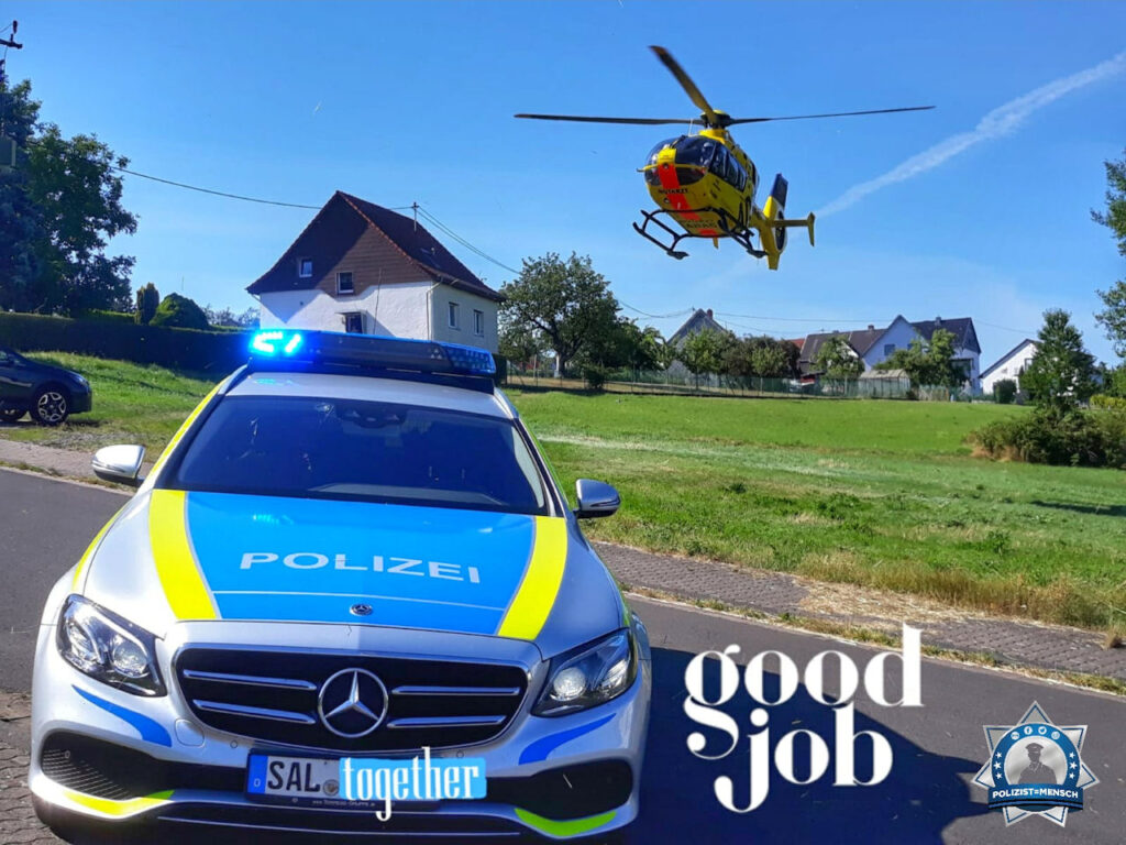 """""""Teamarbeit! Der Einsatz war erfolgreich. Unterstützung bei Landehilfe des Christoph 16 im Saarland. Viele grüße von Nathalie, Michael und Jan."""""""