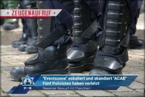 """Massiver Bewurf mit Flaschen: """"Eventszene"""" eskaliert und skandiert """"ACAB"""" - Fünf Polizisten verletzt"""