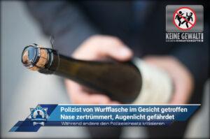 Während andere den Polizeieinsatz kritisieren: Polizist von Wurfflasche im Gesicht getroffen - Nase zertrümmert, Augenlicht gefährdet