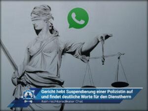 Kein rechtsradikaler Chat: Gericht hebt Suspendierung einer Polizistin auf und findet deutliche Worte für den Dienstherrn
