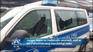 Nach Stuttgarter Krawallnacht: Junger Mann zu Haftstrafe verurteilt, weil ein Polizeifahrzeug beschädigt hatte