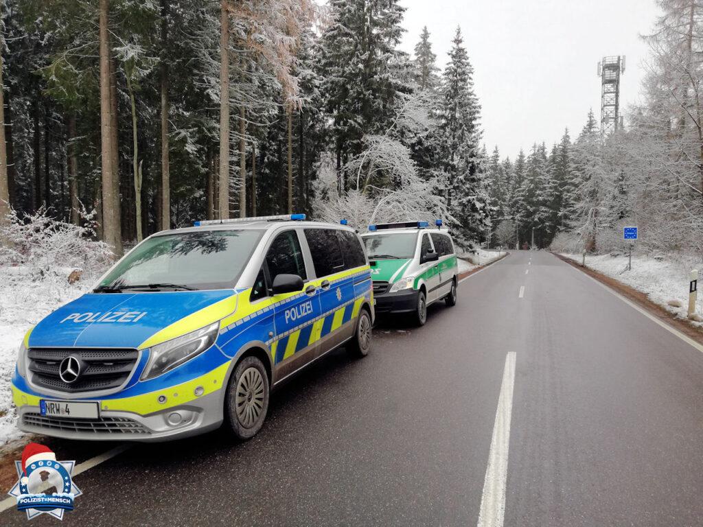 Winterliche Kontrolle von Polizei und Zoll an der Grenze
