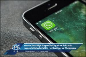 """""""Charakterlich ungeeignet"""": Gericht bestätigt Suspendierung einer Polizistin wegen Mitgliedschaft in rechtsextremer Chatgruppe"""