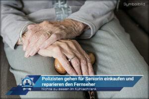 Nichts zu essen im Kühlschrank: Polizisten gehen für Seniorin einkaufen und reparieren den Fernseher