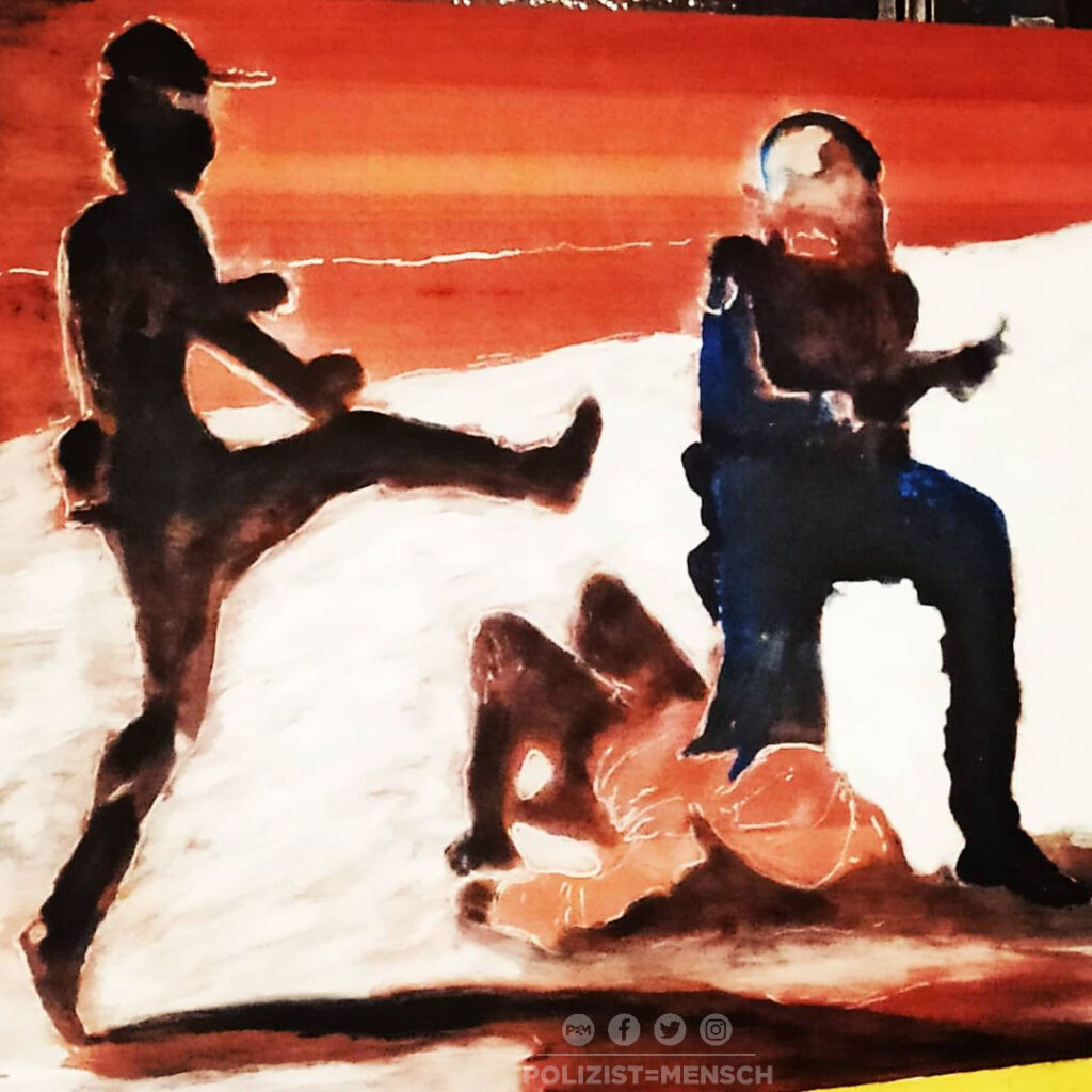 """Dieses Gemälde mit dem Titel """"Violence against Police"""" (Acryl auf Holz) bekamen wir von Martin zugesandt, der in seiner Freizeit Copart Carving macht."""