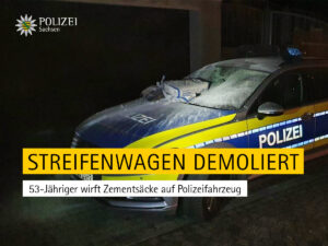 Polizeieinsatz wegen Rauchbelästigung: Mann wirft Zementsäcke auf Streifenwagen
