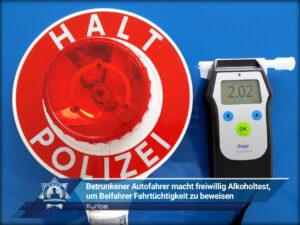 Kurios: Betrunkener Autofahrer macht freiwillig Alkoholtest, um Beifahrer Fahrtüchtigkeit zu beweisen