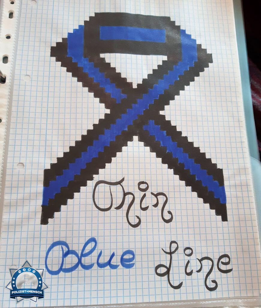 Thin Blue Line von der Tochter gemalt