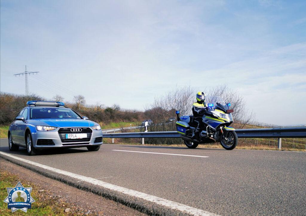 """""""Ob mit dem Streifenwagen oder dem Motorrad, wir bilden immer ein Team. Liebe Grüße, Eileen, Polizei Landau"""""""