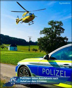 Während der Streifenfahrt: Polizisten retten Autofahrerin nach Unfall vor dem Ertrinken