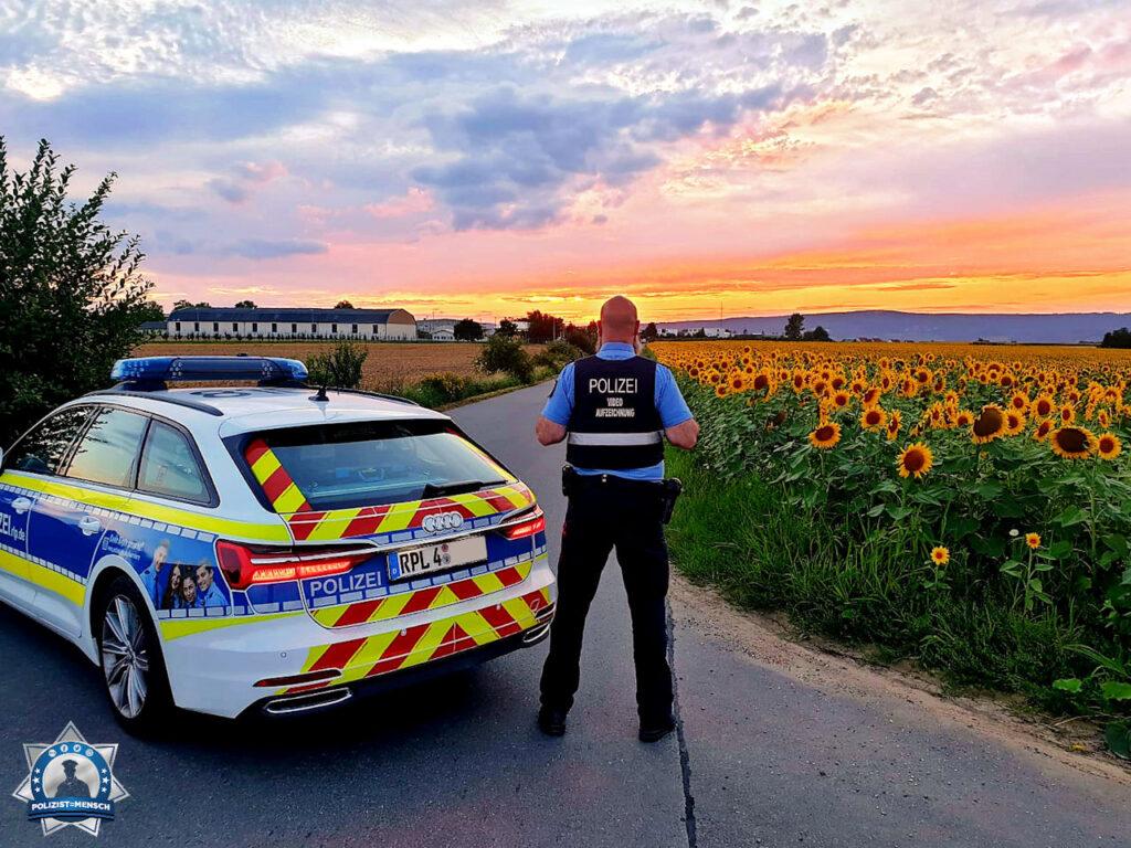 """""""Wir von der Polizei Ingelheim, Dienstgruppe C, verabschieden uns aus einem ereignisreichen aber wunderbarem Spätdienst mit diesem farbenfrohen Bild. Bleibt alle gesund und passt schön auf euch auf. Euer Torsten mit Streifenpartner Gabor"""""""