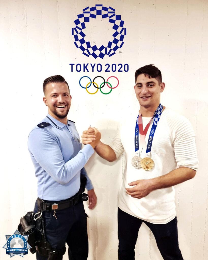 """""""Ein Schnappschuss von Dawid und Edu. Edu kam vor kurzem mit zwei Medaillen von den olympischen Spielen in Tokio zurück! Wahnsinnsleistung! Gratulation!"""""""