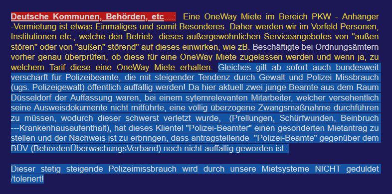 """Aus den Mietbedingungen eines Anhängerverleihs: Berufsgruppen, die """"den Betrieb dieses außergewöhnlichen Serviceangebotes von 'außen stören' """". kommen hier nicht rein"""