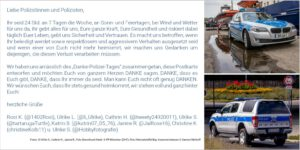 Twitteruserinnen schließen sich zusammen um der Polizei DANKE zu sagen